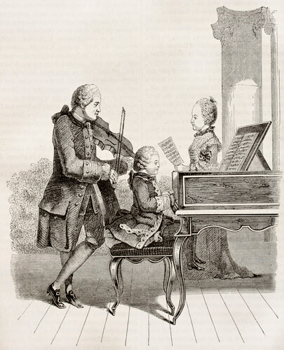 Mozart learns to play the piano, depiction