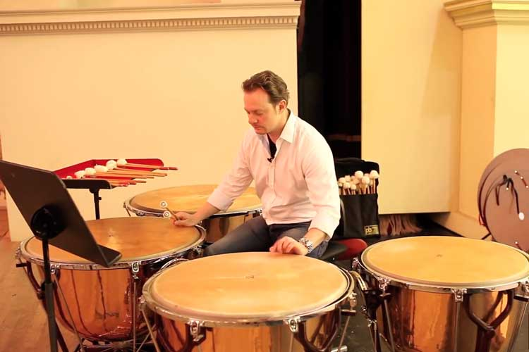 Timpanist playing Timpani