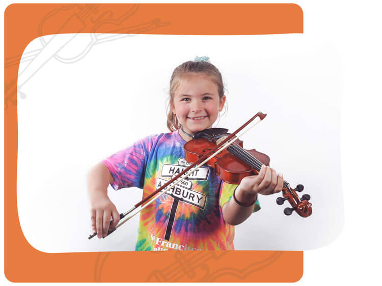 Girl Takes Violin Lessons