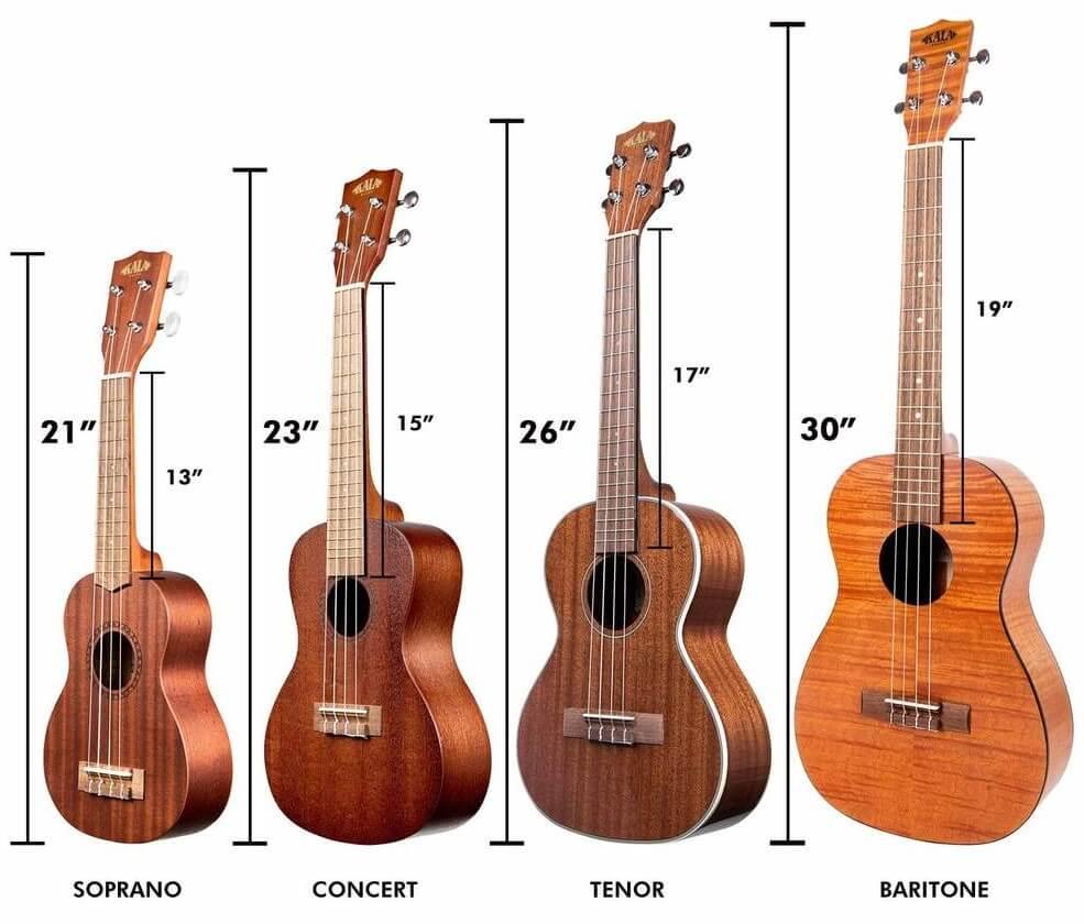 Different types of ukulele