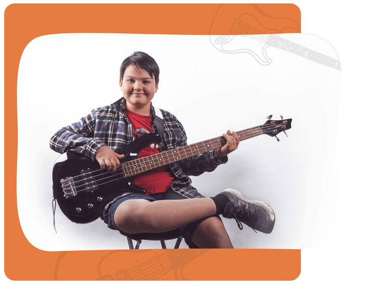 Boy Taking Bass Guitar Lessons Mississauga